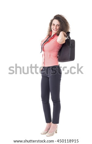 Caucasian business woman standing and holding her briefcase, full length portrait isolated on white background - stock photo