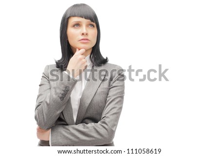 Caucasian business woman thinking in looking pensive and happy in formal clothes isolated on white background.