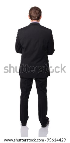 caucasian businessman back view on white