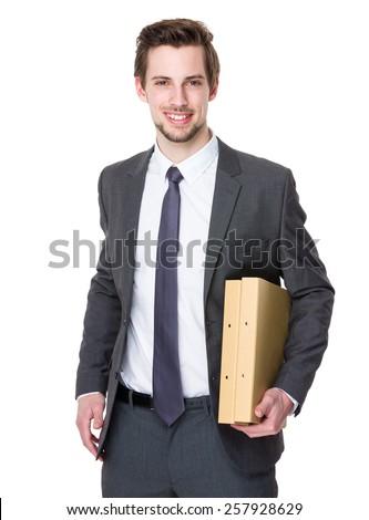 Caucasian businessman hold with folder - stock photo