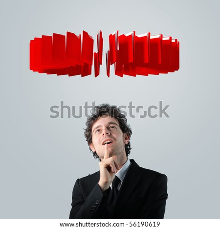 caucasian businessman thinking about his decision - stock photo