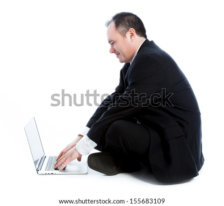 Caucasian businessman 40 years old isolated on a white background