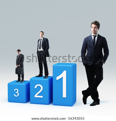 caucasian businesspeople on 3d podium - stock photo