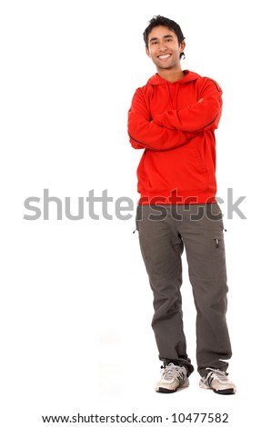 caucasian casual man standing - isolated over a white background - stock photo