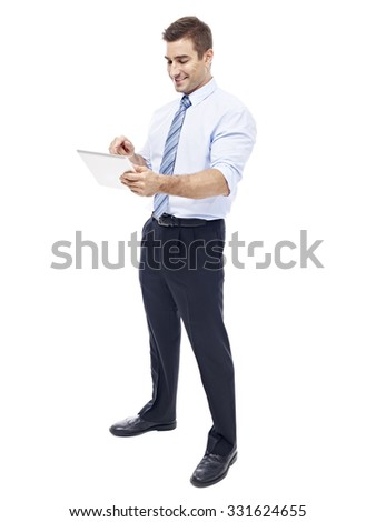 caucasian corporate executive with tablet computer, isolated on white background. - stock photo