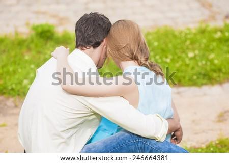 Caucasian Couple having Rest Outdoors. Horizontal Image Orientation - stock photo
