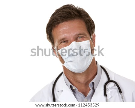 caucasian doctor is wearing a mask on white isolated background