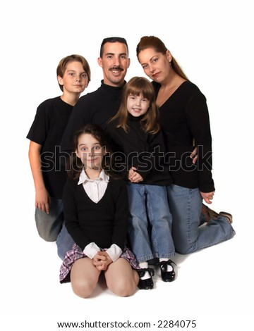Caucasian Family Portrait in Studio With White Background