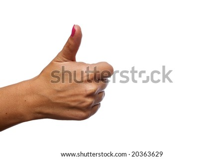 Caucasian female giving a thumbs up isolated on a white background in landscape format.