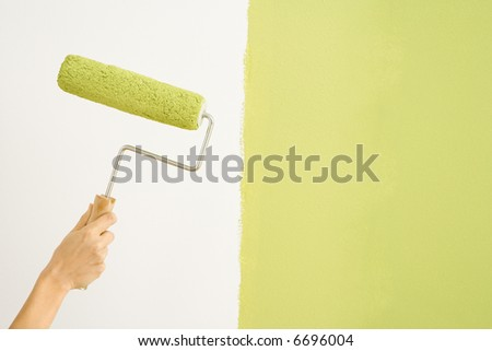 Caucasian female hand holding paint roller next to wall half painted.