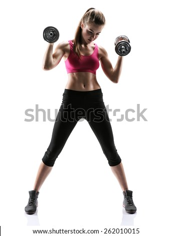 Caucasian fitness girl training / photo set of sporty muscular female brunette girl wearing sports clothes working out with dumbbells over white background   - stock photo