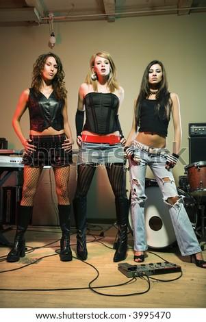 Caucasian girl band posing. - stock photo