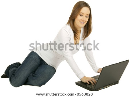 Business Woman Laying Down Laptop Isolated Stock Photo