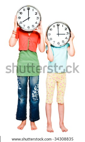 Caucasian girls holding clocks isolated over white - stock photo