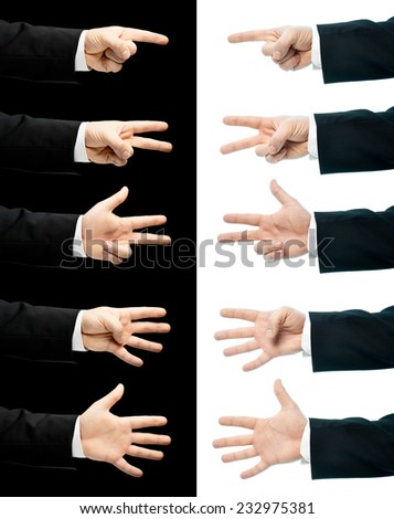 Caucasian hand in a business suit, showing number gesture signs from one to five, set of two versions, isolated over the white and black background - stock photo