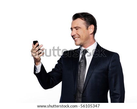 caucasian handsome man holding cell phone happy portrait isolated studio on white backgroun