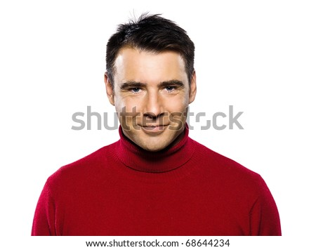 caucasian handsome man studio portrait on isolated white background - stock photo