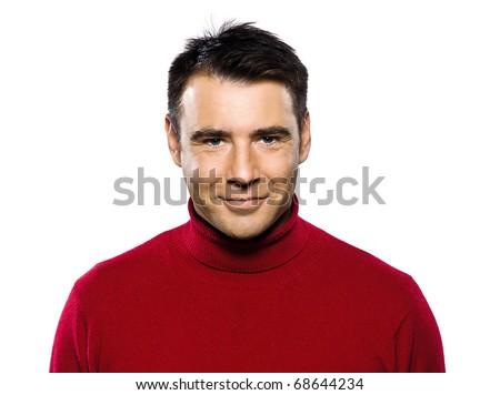 caucasian handsome man studio portrait on isolated white background - stock photo