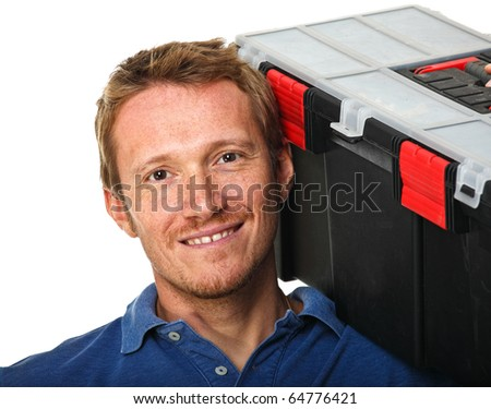caucasian handyman with toolbox on his shoulder - stock photo