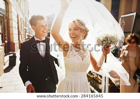 caucasian happy romantic young  couple celebrating their marriage - stock photo