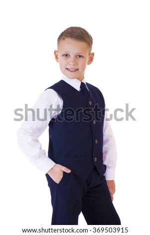 Caucasian happy school boy, isolated on white background