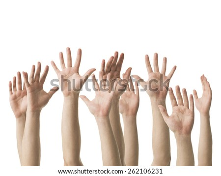 caucasian human hands raised up, isolated on white background - stock photo
