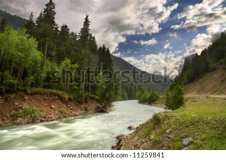 Caucasian landscape - stock photo