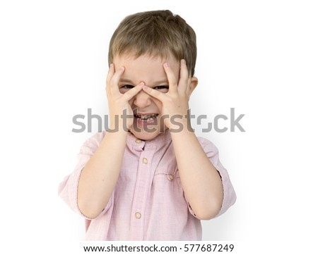 Caucasian Little Boy Hands Covering Face