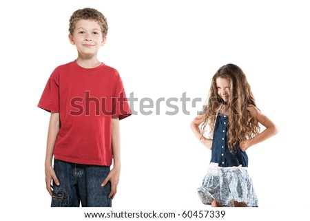 caucasian little boy posing and jealous girl portrait isolated studio on white background - stock photo