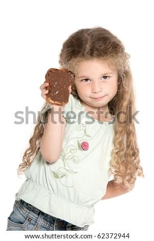 caucasian little girl portrait holding chocolate spread isolated studio on white background - stock photo