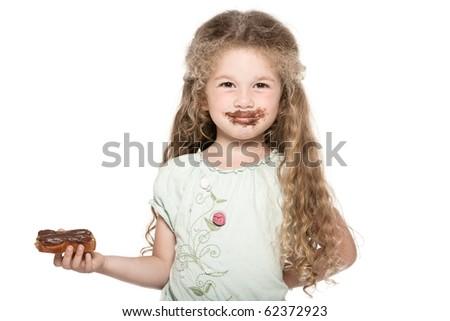caucasian little girl portrait isolated studio on white background - stock photo