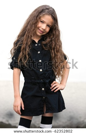 caucasian little girl portrait smiling seductress isolated studio on white background