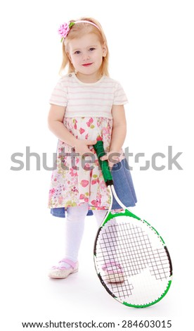 Caucasian little girl with a big tennis racket- isolated on white background - stock photo