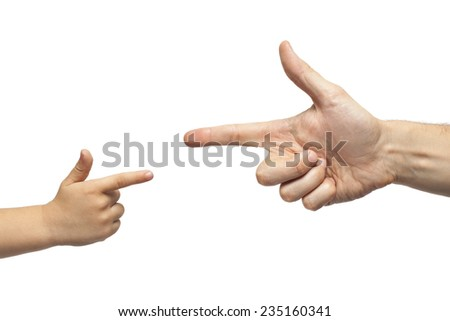 caucasian male and boy hand pointing, or gun gesture, isolated on white background - stock photo