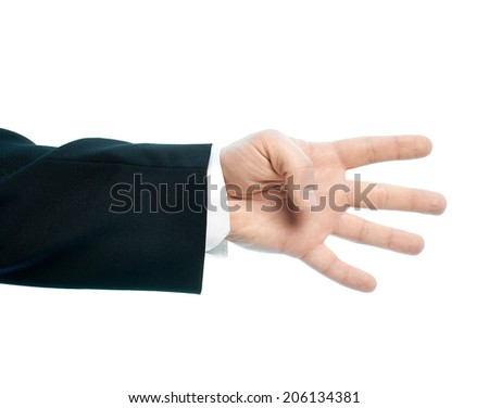 Caucasian male hand gesture showing four fingers, high-key light composition isolated over the white background - stock photo