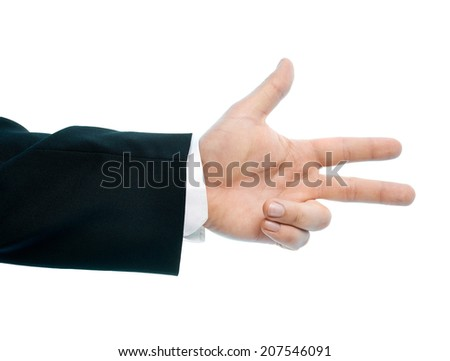 Caucasian male hand gesture showing three fingers, high-key light composition isolated over the white background - stock photo