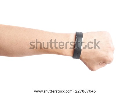 Caucasian male hand in a black sport band smart watch, composition isolated over the white background - stock photo