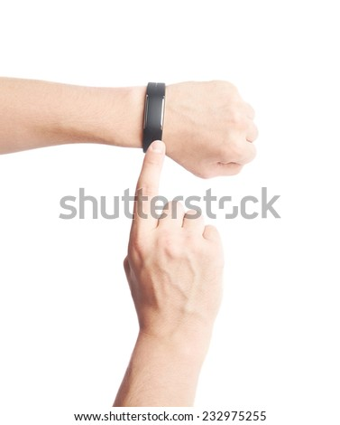Caucasian male hand in a black sport band smart watch with the other hand pointing to it, composition isolated over the white background - stock photo