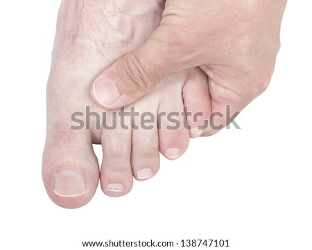 Caucasian male hand massaging foot isolated on white background.
