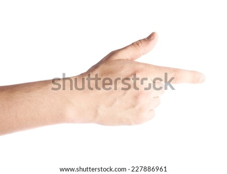 Caucasian male hand pointing with the index finger, composition isolated over the white background - stock photo