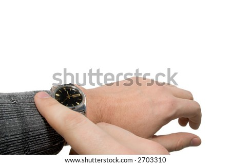 Caucasian male hand with watch - stock photo