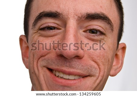 Caucasian Male Headshot Smiling - Extreme Closeup