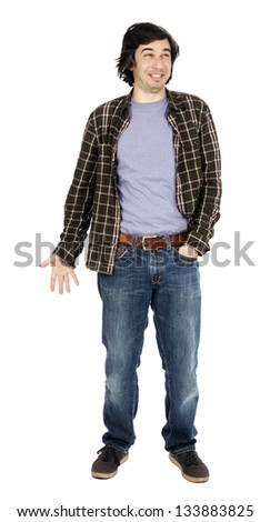 Caucasian male in his early 30's dressed in a casual attire, looking up and laughing hard, hand in pocket of his jeans. - stock photo