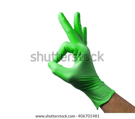 Caucasian male right hand in blue latex glove isolated over white background. - stock photo