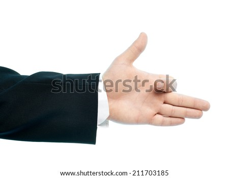 Caucasian male showing the dog hand gesture, high-key light composition isolated over the white background - stock photo