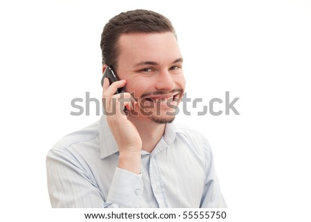 Caucasian male talking on the phone - stock photo