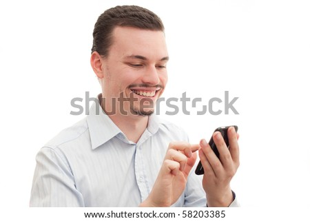 Caucasian male using a touchscreen smart phone - stock photo