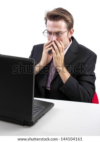 caucasian male using laptop on white background - stock photo