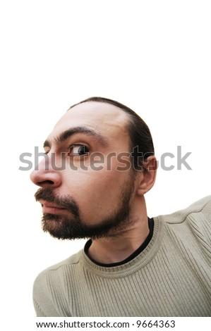 Caucasian man grimacing - stock photo