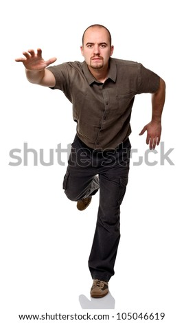 caucasian man in run pose isolated on white background - stock photo